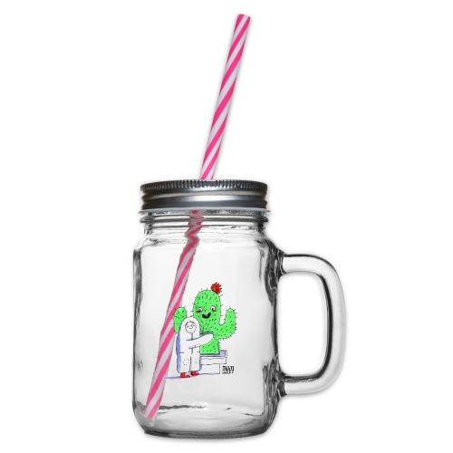 VER 0001 00 Kaktusumarmung - Henkelglas mit Schraubdeckel