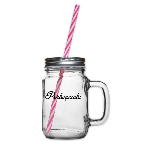 Perlenpaula - Henkelglas mit Schraubdeckel