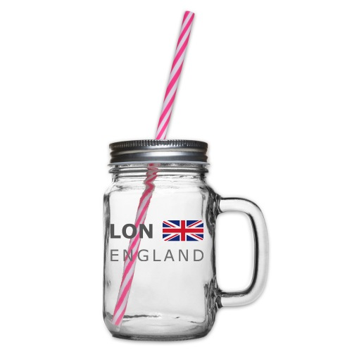 LON ENGLAND BF dark-lettered 400 dpi - Glass jar with handle and screw cap