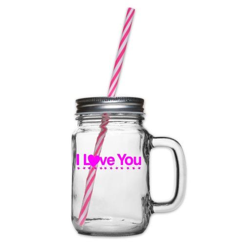 Je t'aime en rose - Bocal à boisson