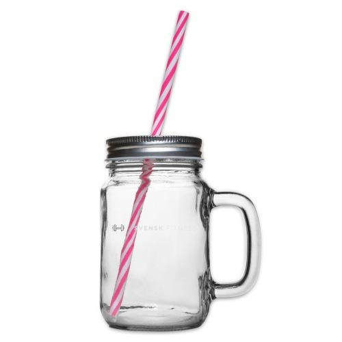 Vit vertikal logo dam - Glas med handtag och skruvlock