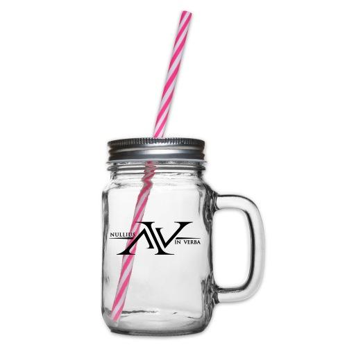 Nullius In Verba Logo - Glass jar with handle and screw cap