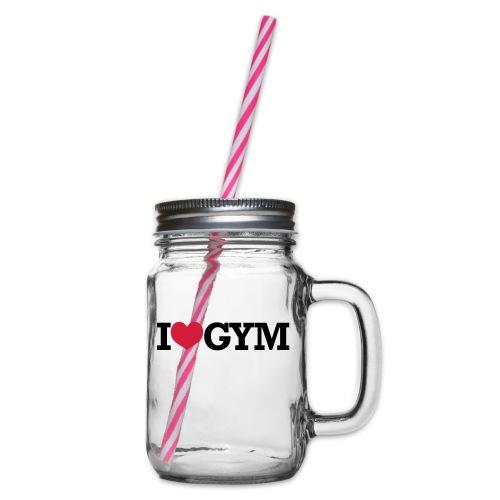I Love Gym - Bodybuilding, Crossfit, Fitness - Henkelglas mit Schraubdeckel