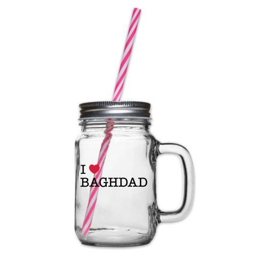 I LOVE BAGHDAD - Glass jar with handle and screw cap