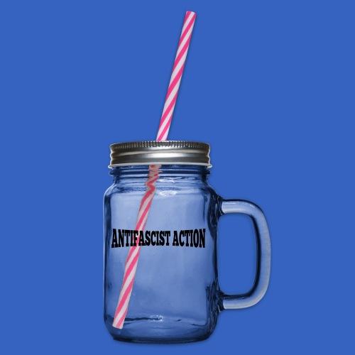lettering_antifascist_act - Henkelglas mit Schraubdeckel