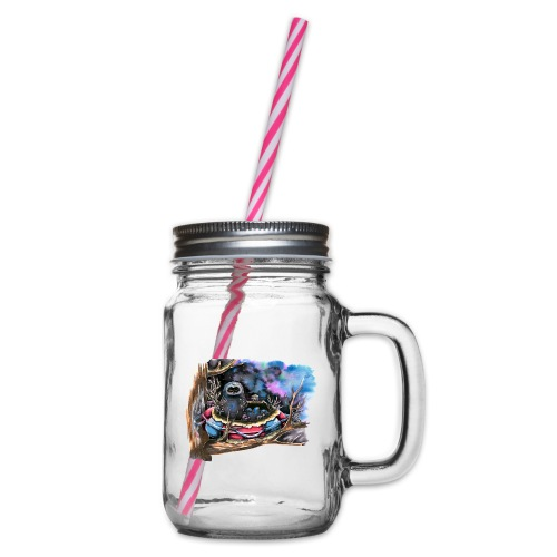 owls - Glass jar with handle and screw cap