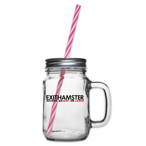 EXITHAMSTER JUST LEAVE png - Glass jar with handle and screw cap