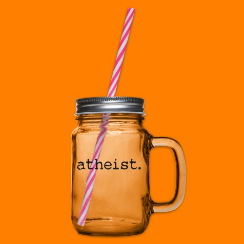 atheist BLACK - Glass jar with handle and screw cap