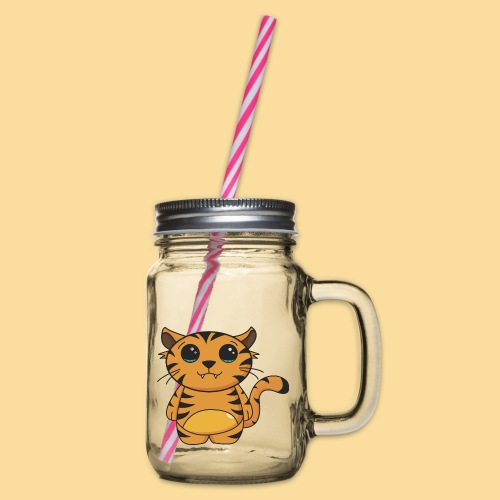 tiger shaped - Glass jar with handle and screw cap