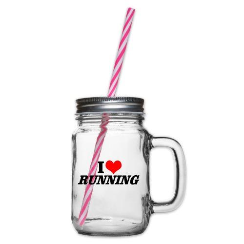 I love running - Henkelglas mit Schraubdeckel