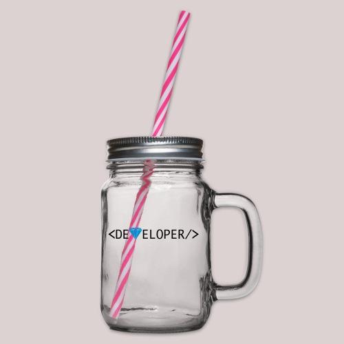 Developer | Computer | Nerd | Hipster | Geek - Henkelglas mit Schraubdeckel