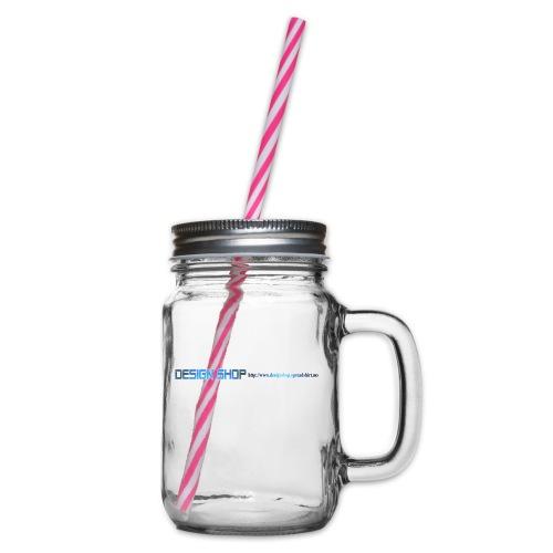 ny logo lang - Glass med hank og skrulokk