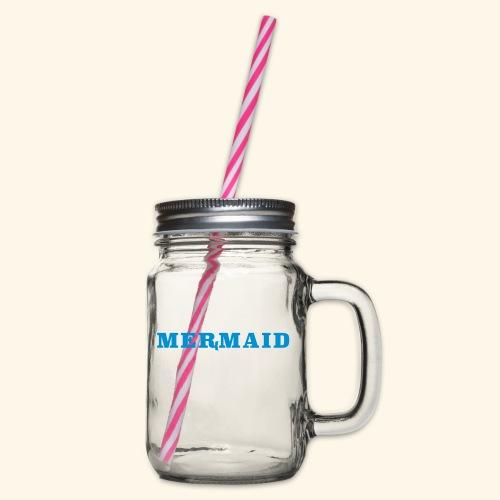 Mermaid logo - Glas med handtag och skruvlock