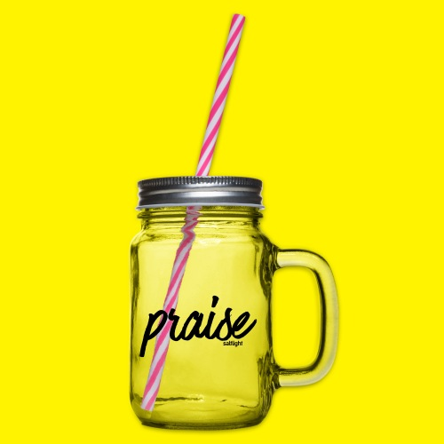 Praise (BLACK) - Glass jar with handle and screw cap