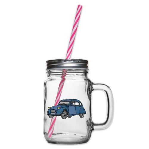 Blaue Ente 2CV - Henkelglas mit Schraubdeckel