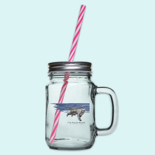 Polar-Blues-SpSh - Glass jar with handle and screw cap