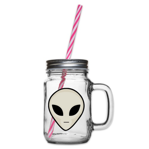 UFO Alien Head - Glass jar with handle and screw cap