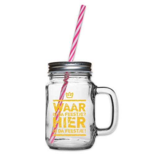Belgian Feestje - Glass jar with handle and screw cap