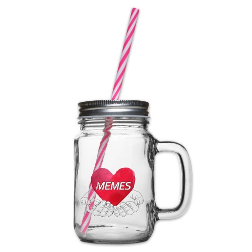 Love Memes - Glass jar with handle and screw cap