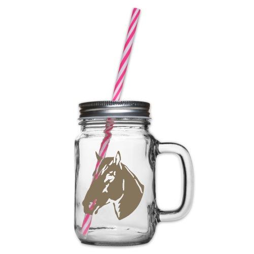 Łeb konia - Słoik do picia z pokrywką