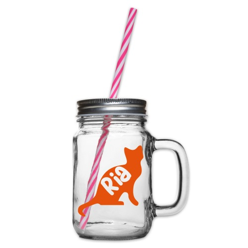 Team Ria Cat - Glass jar with handle and screw cap