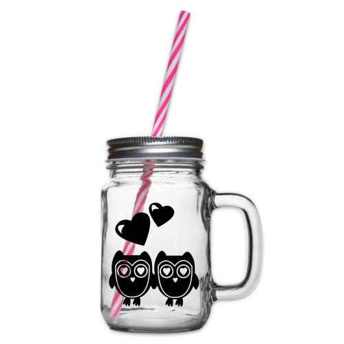 verliebte Eulen - Henkelglas mit Schraubdeckel