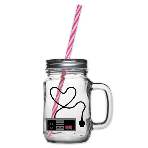 NES Controller Heart - Glass jar with handle and screw cap