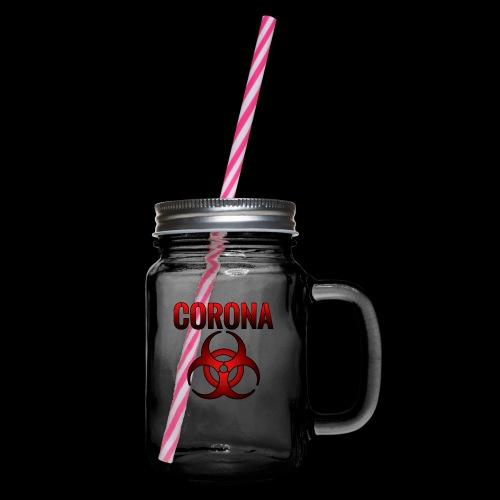 Corona Virus CORONA Pandemie - Henkelglas mit Schraubdeckel