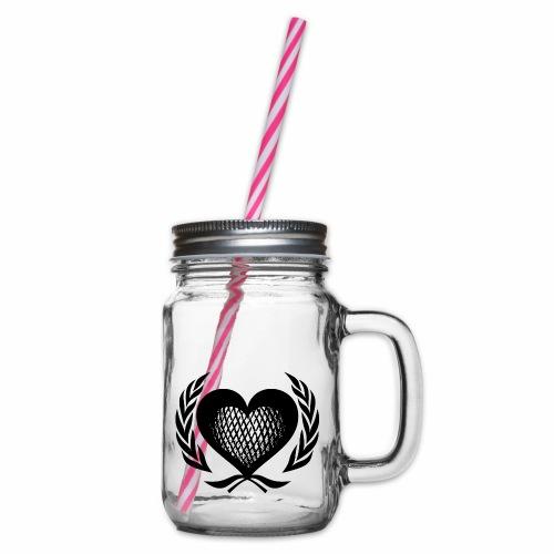 Herz Kranz Gitter Netz Logo Emblem Geschenkidee - Henkelglas mit Schraubdeckel