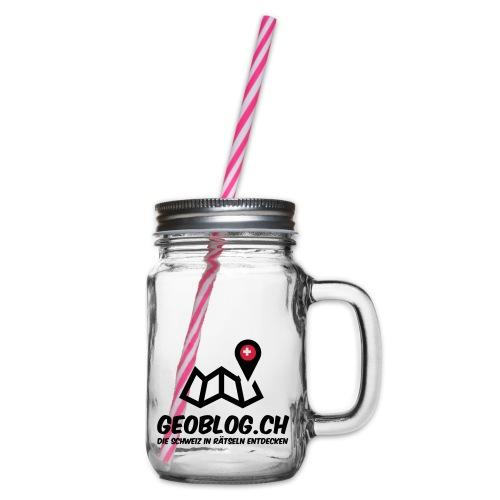 Logo+Schriftzug-hoch - Henkelglas mit Schraubdeckel