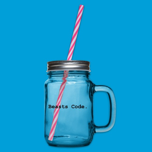 Beasts Code. - Glass jar with handle and screw cap