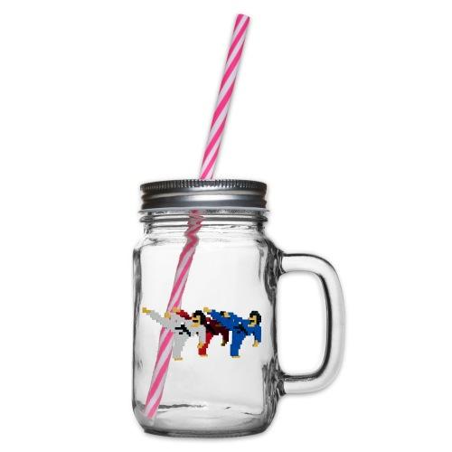 8 bit trip ninjas 2 - Glass jar with handle and screw cap