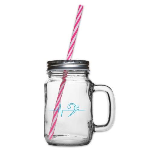 LowHeartBeat cyan - Henkelglas mit Schraubdeckel