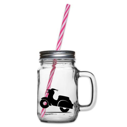 Schwalbe knautschig - Henkelglas mit Schraubdeckel