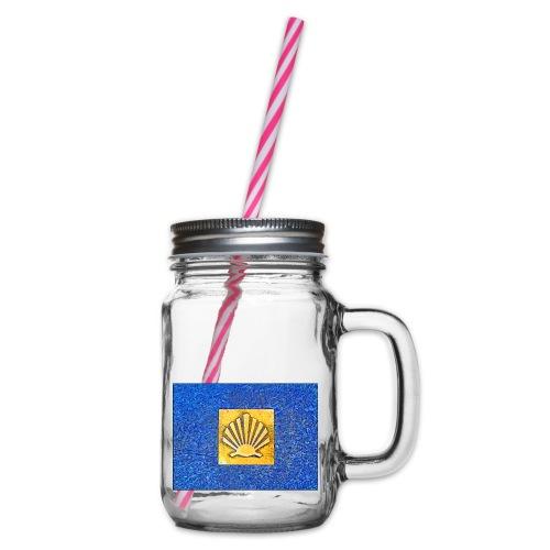 Scallop Shell Camino de Santiago - Glass jar with handle and screw cap
