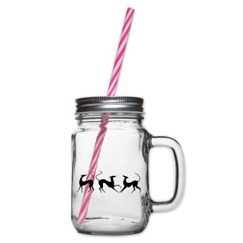 Windhundfries - Henkelglas mit Schraubdeckel