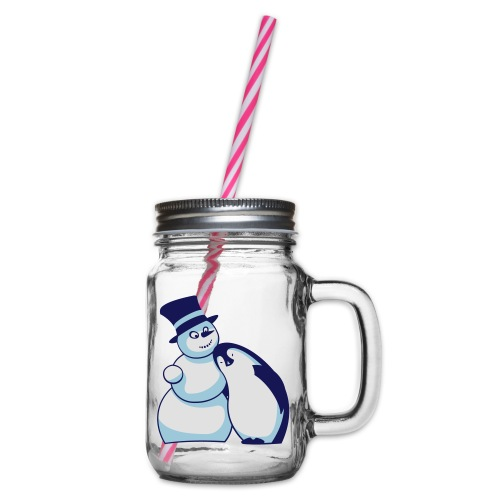 Schneemann und Pinguin - Henkelglas mit Schraubdeckel