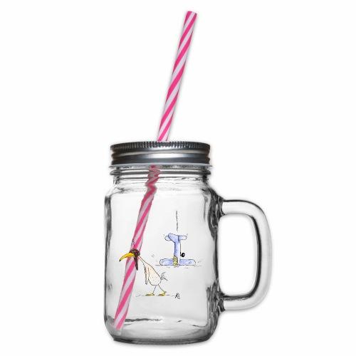 cartoon_Kleimdesign_abstu - Henkelglas mit Schraubdeckel