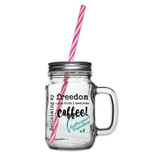 Kahvimuki Matkaopas Vapauteen, turkoosi - Lasimuki kierrekannella
