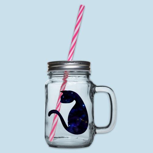 Universums Katze - Henkelglas mit Schraubdeckel