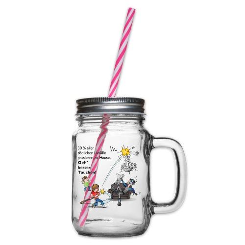 Unfall-Taucher Baseball - Henkelglas mit Schraubdeckel