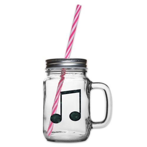 Low Poly Geometric Music Note - Glass jar with handle and screw cap