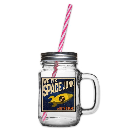 We Fix Space Junk logo (square) - Glass jar with handle and screw cap