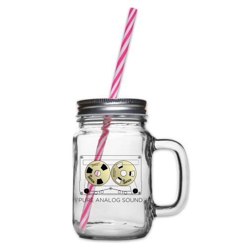 Reel gold cassette white - Glass jar with handle and screw cap