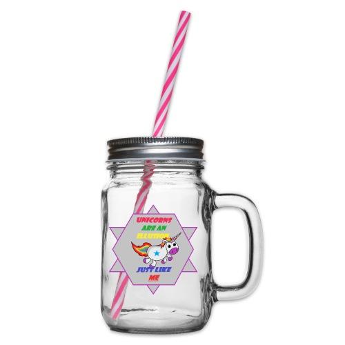 Unicorn with joke - Glass jar with handle and screw cap