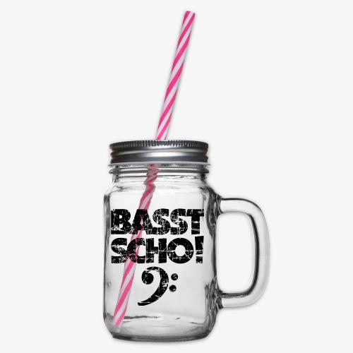 BASST SCHO! Bass Bassschlüssel Bassisten - Henkelglas mit Schraubdeckel