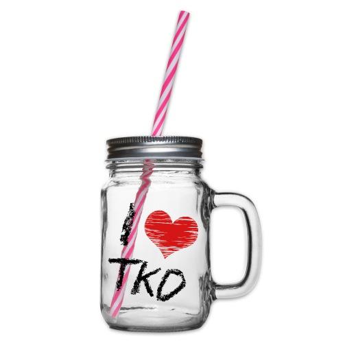 I love tkd letras negras - Jarra con asa y tapa roscada