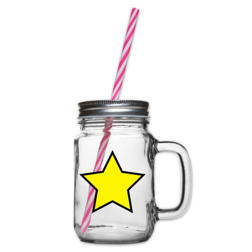 Star - Stjerne - Glass jar with handle and screw cap