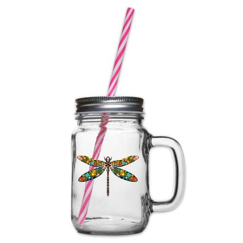 DRAGONFLY SKULL - Henkelglas mit Schraubdeckel