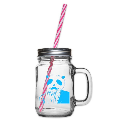 BluePanda Logo - Glass jar with handle and screw cap
